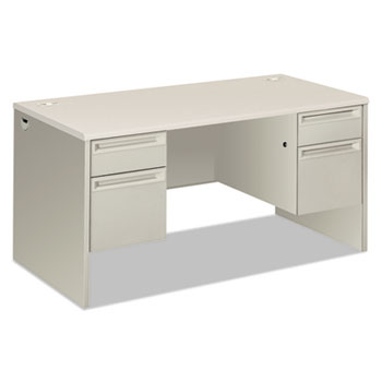 "HON® 38000 Series Double Pedestal Desk, 60"" Wide, Silver Mesh/Light Gray"