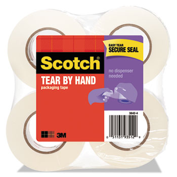 """Scotch™ Tear-By-Hand Packaging Tape, 1.88"""" x 50yds, 1 1/2"""" Core, Clear, 4/PK"""