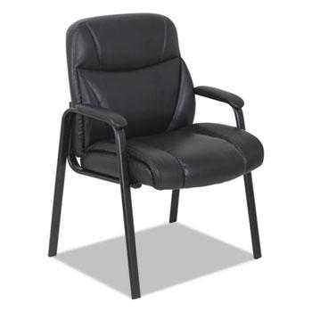 "Alera® Bonded Leather Guest Chair, 25.63"" x 26"" x 37.63"", Black Seat/Black Back, Black Base"