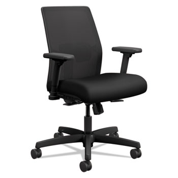 HON® Ignition 2.0 Ilira-Stretch Low-Back Mesh Task Chair, Black Fabric Upholstery