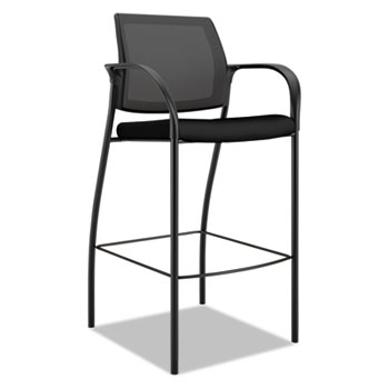 HON® Ignition 2.0 Ilira-Stretch Mesh Back Cafe Height Stool, Black Fabric Upholstery