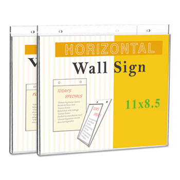 """Universal® Wall Mount Sign Holder, 11"""" x 8 1/2"""", Horizontal, Clear, 2/Pack"""