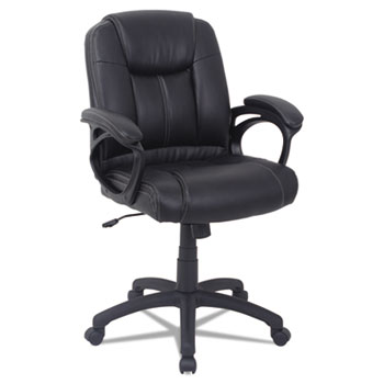 Alera® Alera CC Series Executive Mid-Back Leather Chair, Supports up to 275 lbs., Black Seat/Black Back, Black Base