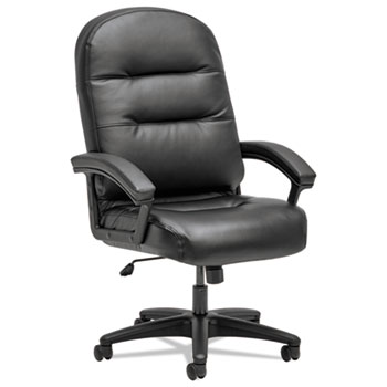 HON® Pillow-Soft 2090 Series Executive High-Back Swivel/Tilt Chair, Black, Leather