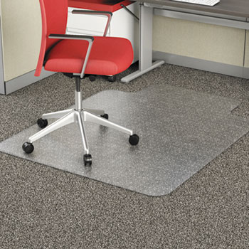 Alera® Occasional Use Studded Chair Mat for Flat Pile Carpet, 45 x 53, Wide Lipped, Clear