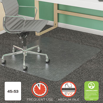 """SuperMat Frequent Use Chair Mat, Rectangle, 45"""" x 53"""", Medium Pile, Clear"""
