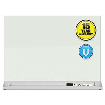 "Quartet® Desktop Magnetic Glass Dry-Erase Panel, 23"" x 17"", White"