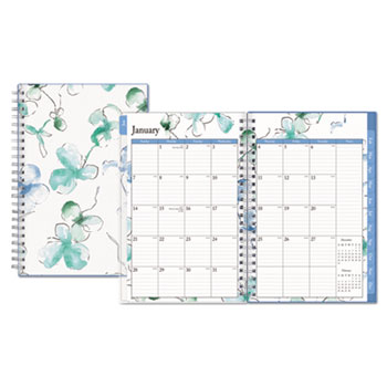 "Lindley Weekly/Monthly Wirebound Planner, 5"" x 8"", White/Blue, 2021"
