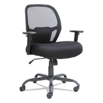Alera® Alera Merix450 Series Mesh Big and Tall Chair, Supports up to 450 lbs, Black Seat/Black Back, Black Base