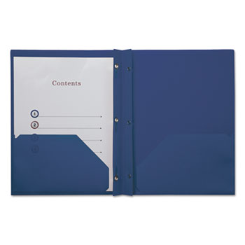 Universal® Plastic Twin-Pocket Report Covers with 3 Fasteners, 100 Sheets,RoyalBlue, 10/PK