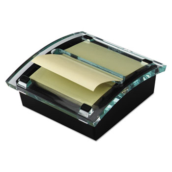"""Clear Top Pop-up Note Dispenser for 3"""" x 3"""" Self-Stick Notes, Black/Clear"""