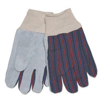 MCR™ Safety 1040 Leather Palm Glove, Gray/White, Large, Dozen