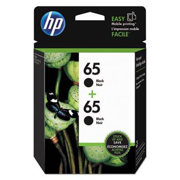 HP 65 Ink Cartridges - Black, 2 Cartridges (1VU22AN)