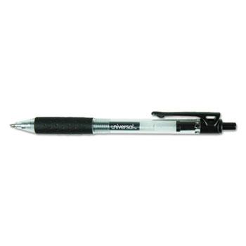 Comfort Grip Retractable Gel Pen, 0.7mm, Black Ink, Smoke Barrel, Dozen