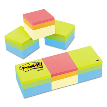 Mini Cubes, 2 x 2, Canary Yellow/Green Wave, 400 Sheets, 3/PK