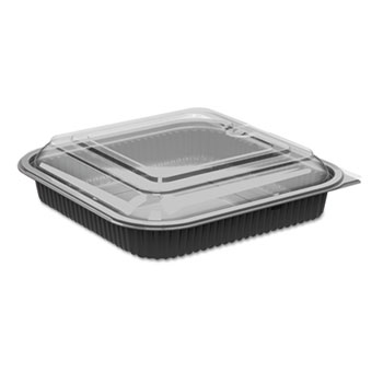 """Anchor Packaging Culinary Squares 2-Piece Microwavable Container, 36oz, Clear/Black, 2.25"""",150/CT"""