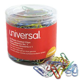 Universal® Plastic-Coated Paper Clips, Small (No. 1), Assorted Colors, 500/Pack