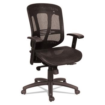 Alera® Alera Eon Series Multifunction Mid-Back Suspension Mesh Chair, Supports up to 275 lbs, Black Seat/Black Back, Black Base