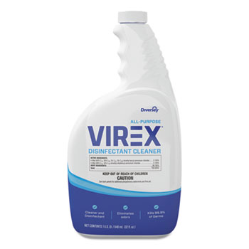 Diversey™ Virex All-Purpose Disinfectant Cleaner, Lemon Scent, 32oz Spray Bottle, 4/Carton