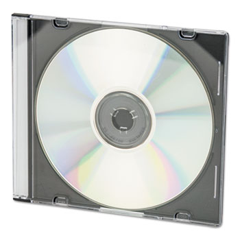 CD/DVD Slim Jewel Cases, Clear/Black, 100/Pack