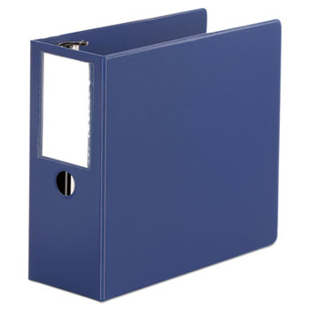 """Deluxe Non-View D-Ring Binder with Label Holder, 3 Rings, 5"""" Capacity, 11 x 8.5, Royal Blue"""