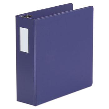 "Universal® Deluxe Non-View D-Ring Binder with Label Holder, 3 Rings, 3"" Capacity, 11 x 8.5, Navy Blue"