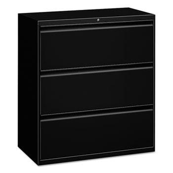Alera® Three-Drawer Lateral File Cabinet, 30w x 18d x 39.5h, Black