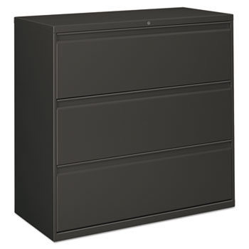 Alera® Three-Drawer Lateral File Cabinet, 42w x 18d x 39.5h, Charcoal