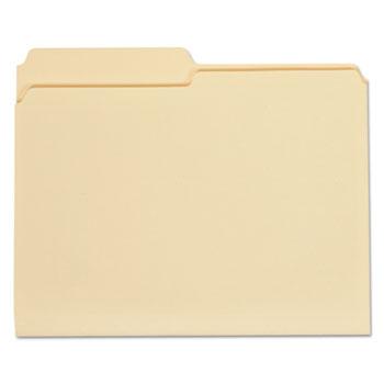 Top Tab Manila File Folders, 1/2-Cut Tabs, Assorted Positions, Letter Size, 11 pt. Manila, 100/Box