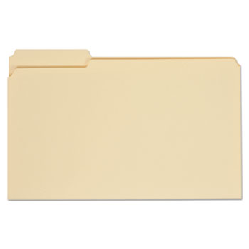 Top Tab Manila File Folders, 1/3-Cut Tabs, Assorted Positions, Legal Size, 11 pt. Manila, 100/Box
