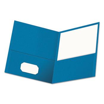 Universal Two-Pocket Portfolio, Embossed Leather Grain Paper, Light Blue, 25/Box