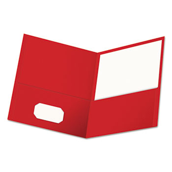 Universal Two-Pocket Portfolio, Embossed Leather Grain Paper, Red, 25/Box