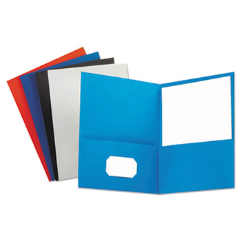 Universal® Two-Pocket Portfolio, Embossed Leather Grain Paper, Assorted Colors, 25/Box