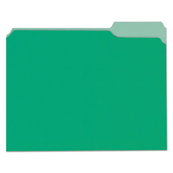 Deluxe Colored Top Tab File Folders, 1/3-Cut Tabs, Letter Size, Green/Light Green, 100/Box