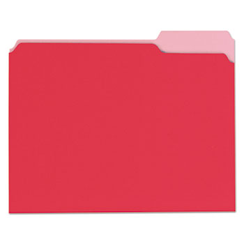 Deluxe Colored Top Tab File Folders, 1/3-Cut Tabs, Letter Size, Red/Light Red, 100/Box