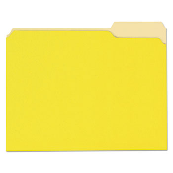 Deluxe Colored Top Tab File Folders, 1/3-Cut Tabs, Letter Size, Yellowith Light Yellow, 100/Box