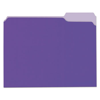 Deluxe Colored Top Tab File Folders, 1/3-Cut Tabs, Letter Size, Violet/Light Violet, 100/Box