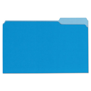 Deluxe Colored Top Tab File Folders, 1/3-Cut Tabs, Legal Size, Blue/Light Blue, 100/Box