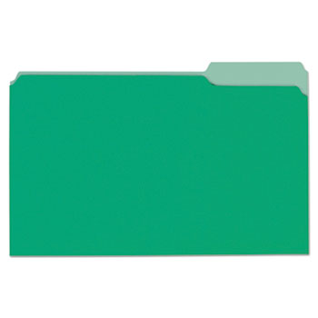 Universal® Deluxe Colored Top Tab File Folders, 1/3-Cut Tabs, Legal Size, Bright Green/Light Green, 100/Box