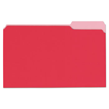 Universal® Deluxe Colored Top Tab File Folders, 1/3-Cut Tabs, Legal Size, Red/Light Red, 100/Box