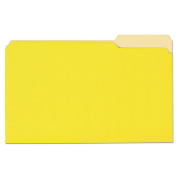 Universal® Deluxe Colored Top Tab File Folders, 1/3-Cut Tabs, Legal Size, Yellowith Light Yellow, 100/Box
