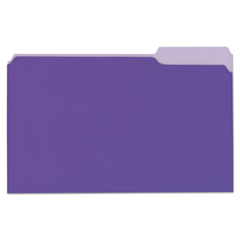 Universal® Deluxe Colored Top Tab File Folders, 1/3-Cut Tabs, Legal Size, Violet/Light Violet, 100/Box