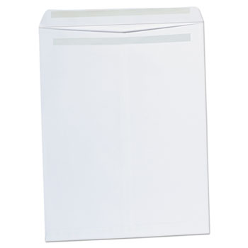 Universal® Self-Stick Open-End Catalog Envelope, #15 1/2, Square Flap, Self-Adhesive Closure, 12 x 15.5, White, 100/Box