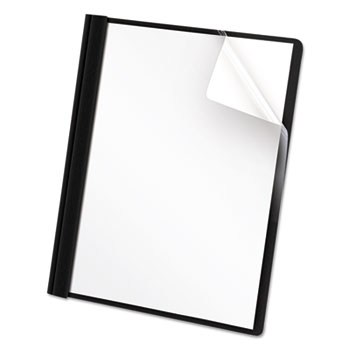 Universal® Clear Front Report Cover, Tang Fasteners, Letter Size, Black, 25/Box