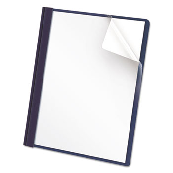 Universal® Clear Front Report Cover, Tang Fasteners, Letter Size, Dark Blue, 25/Box