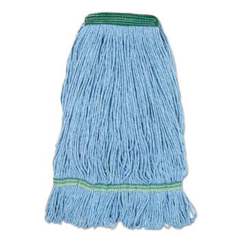 "Boardwalk® Super Loop Wet Mop Head, Cotton/Synthetic Fiber, 1"" Headband, Medium Size, Blue"
