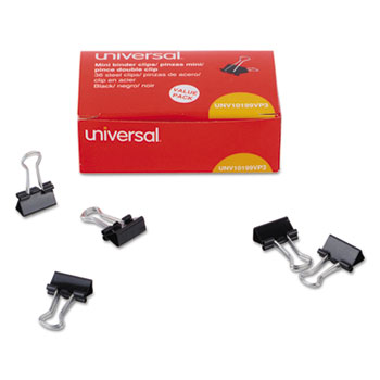 Binder Clips, Mini, Black/Silver, 36/Box
