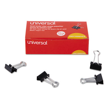 Universal® Binder Clips, Small, Black/Silver, 36/Pack