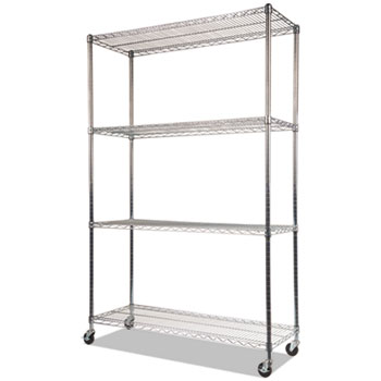 NSF Certified 4-Shelf Wire Shelving Kit with Casters, 48w x 18d x 72h, Silver