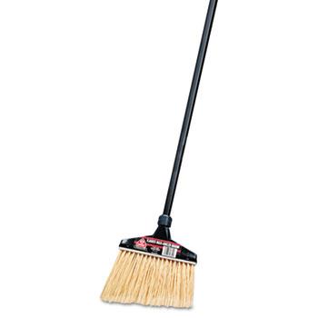 "O-Cedar® Commercial Maxi-Angler Broom, Polystyrene Bristles, 51"" Aluminum Handle, Black"